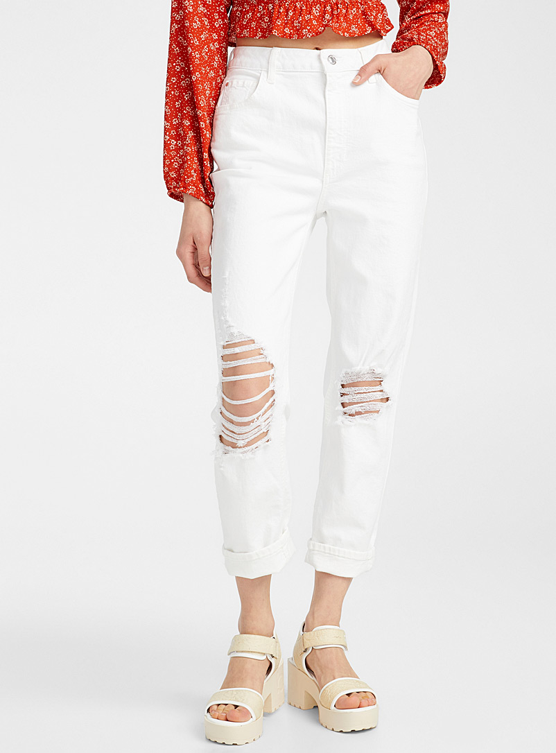 Guess White Ripped white mom jean for women