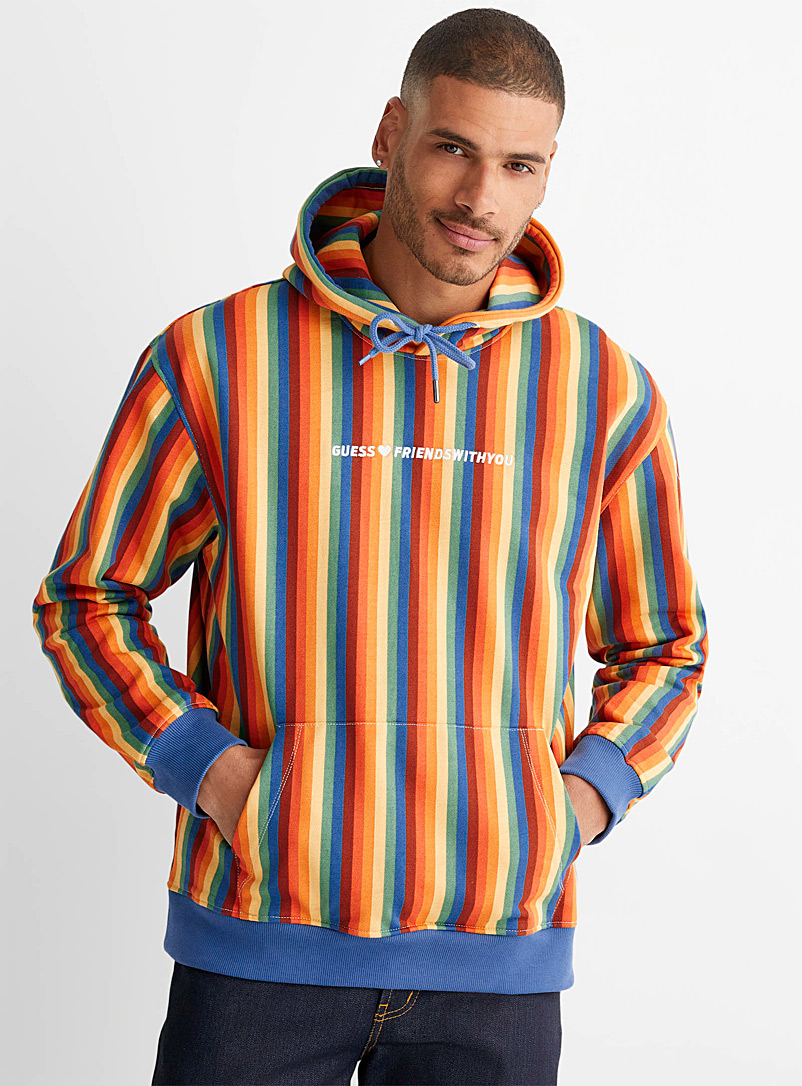 Guess Assorted Rainbow stripe hoodie for men