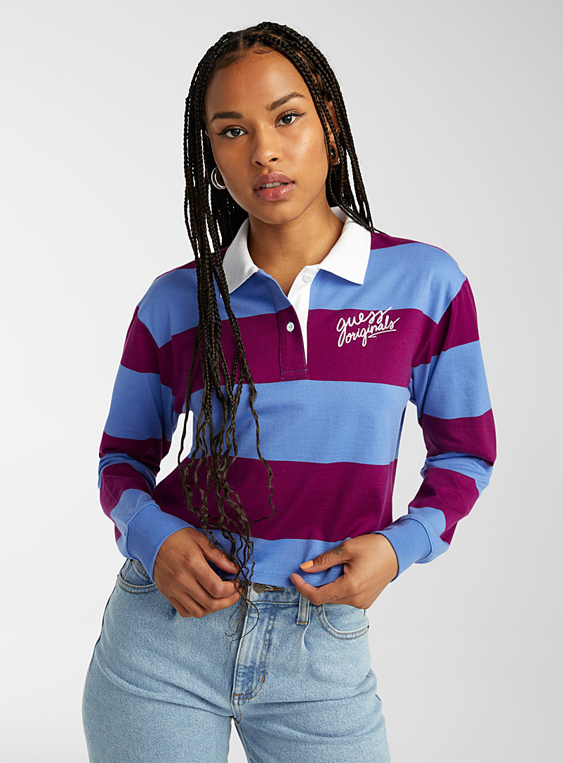 Guess Patterned Blue Striped cropped rugby polo for women