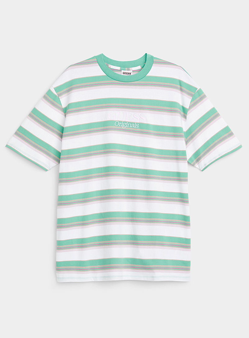 Guess White Horizontal-stripe embroidered T-shirt for men
