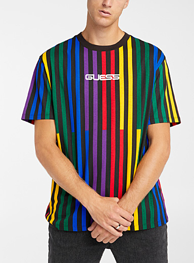 Guess Black Rainbow graphic T-shirt for men
