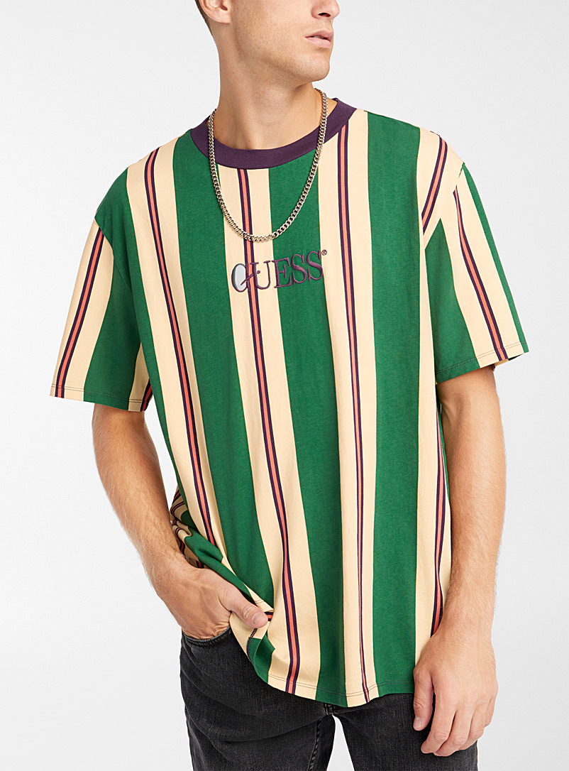 Guess Green Vertical stripe T-shirt for men