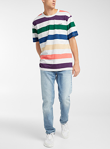 Guess Grey Colourful stripe T-shirt for men