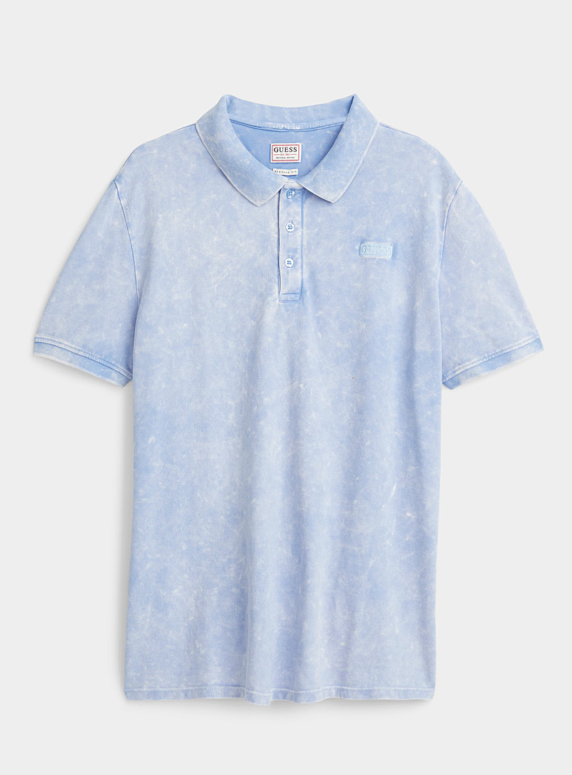 Guess Baby Blue Faded piqué polo for men