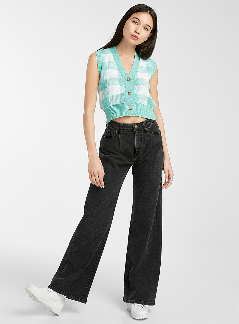 Guess Oxford Pleated straight loose jean for women