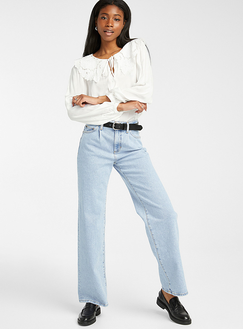Guess Slate Blue Pleated straight loose jean for women