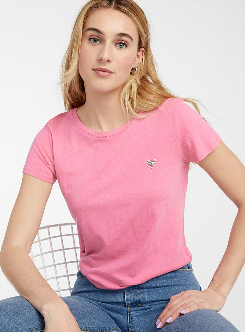 Guess Pink Signature logo cropped tee for women