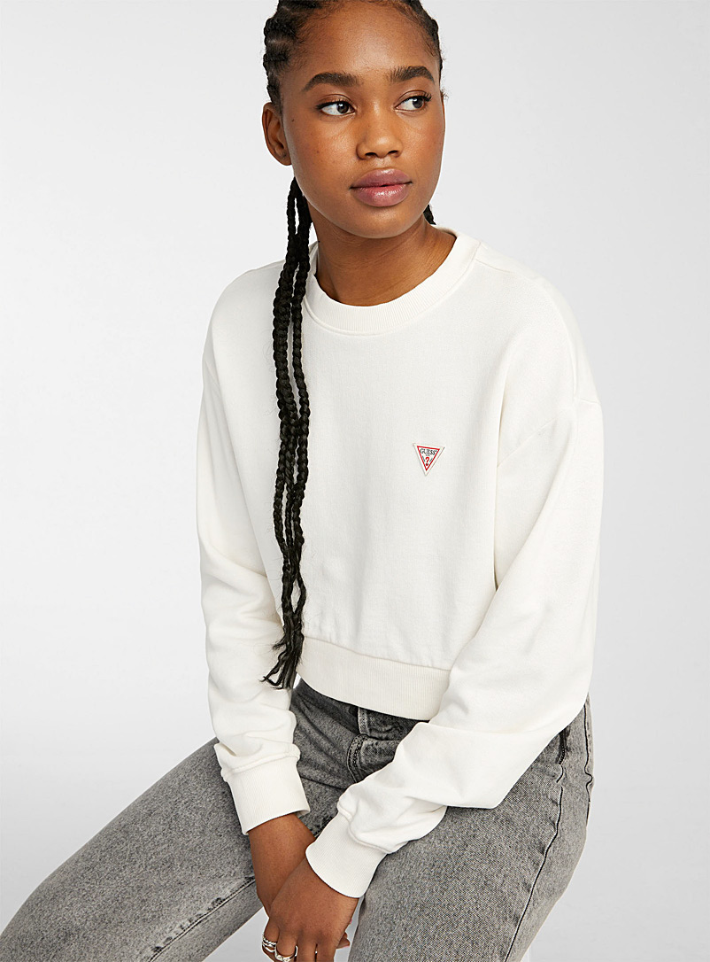 Guess White Accent logo cropped sweatshirt for women
