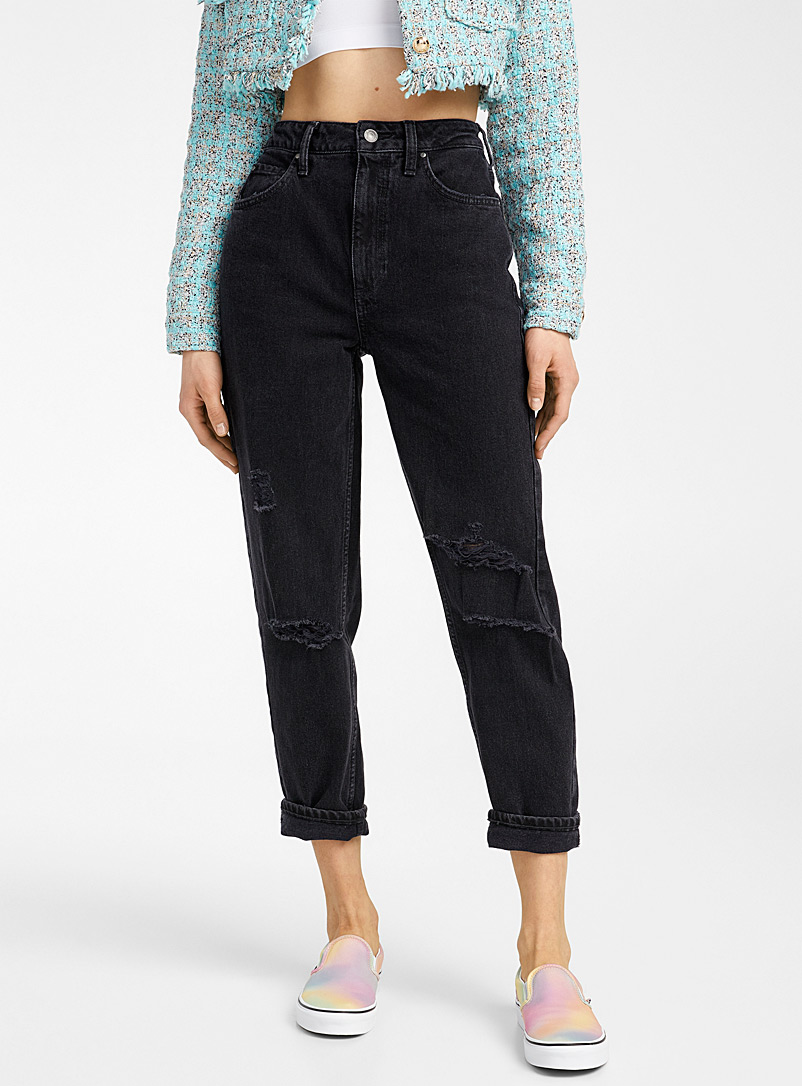 Guess Oxford Ripped black mom jean for women