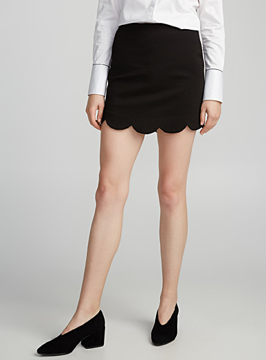 Scalloped jersey miniskirt
