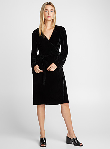 Silky velvet wrap dress