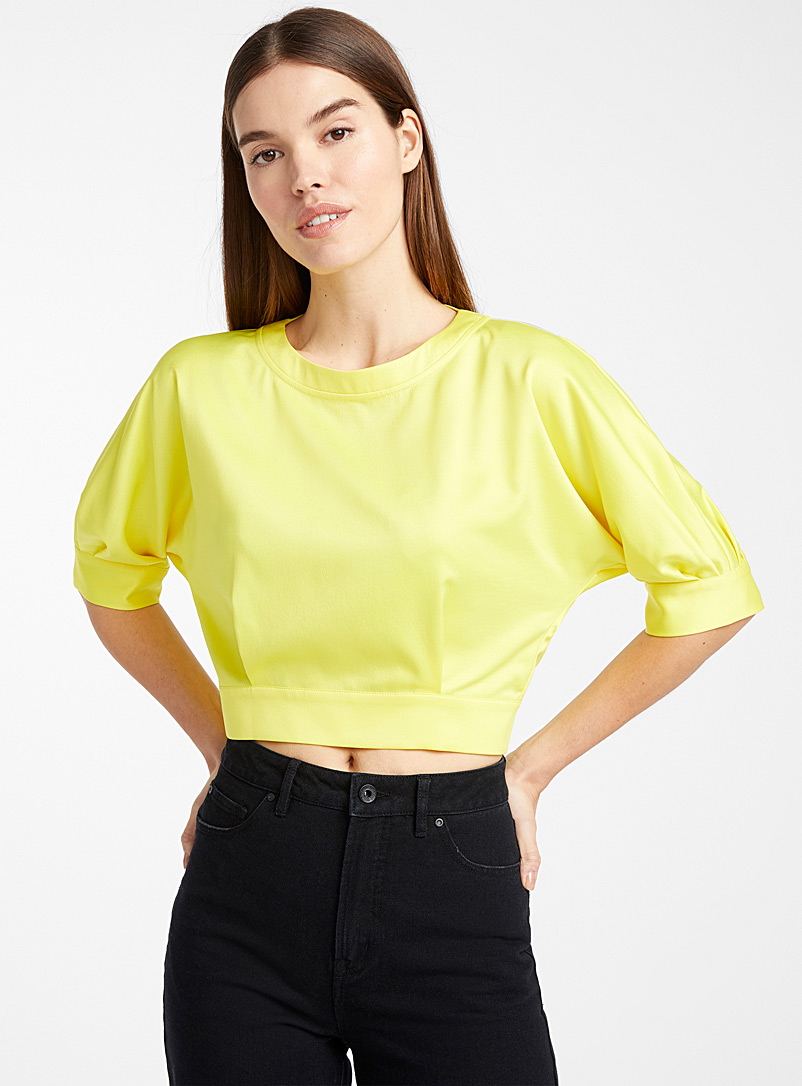 Back-slit satiny blouse - Crop Tops - Golden Yellow