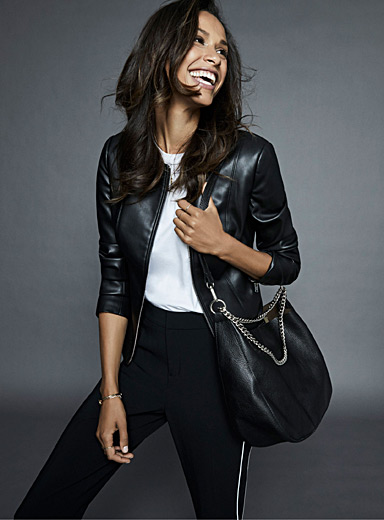 Faux-leather zip jacket