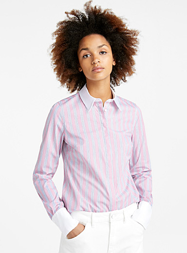 Stretch poplin career shirt