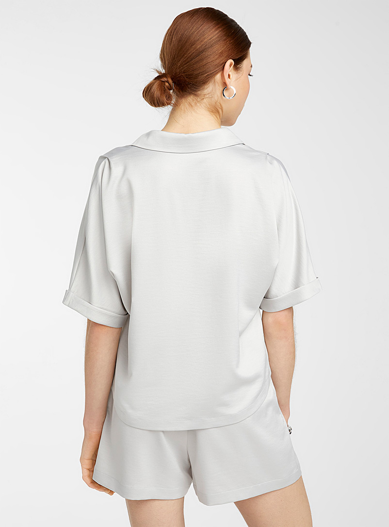 Icône Grey Satiny recycled polyester blouse for women