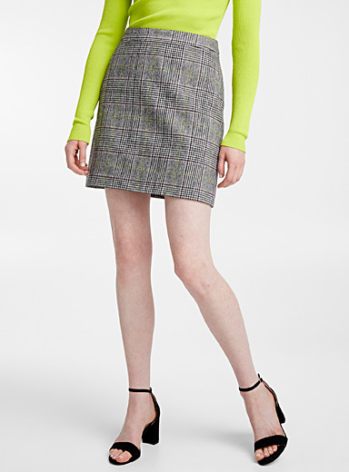 Chic check wool miniskirt