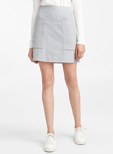 Patch pocket wool miniskirt
