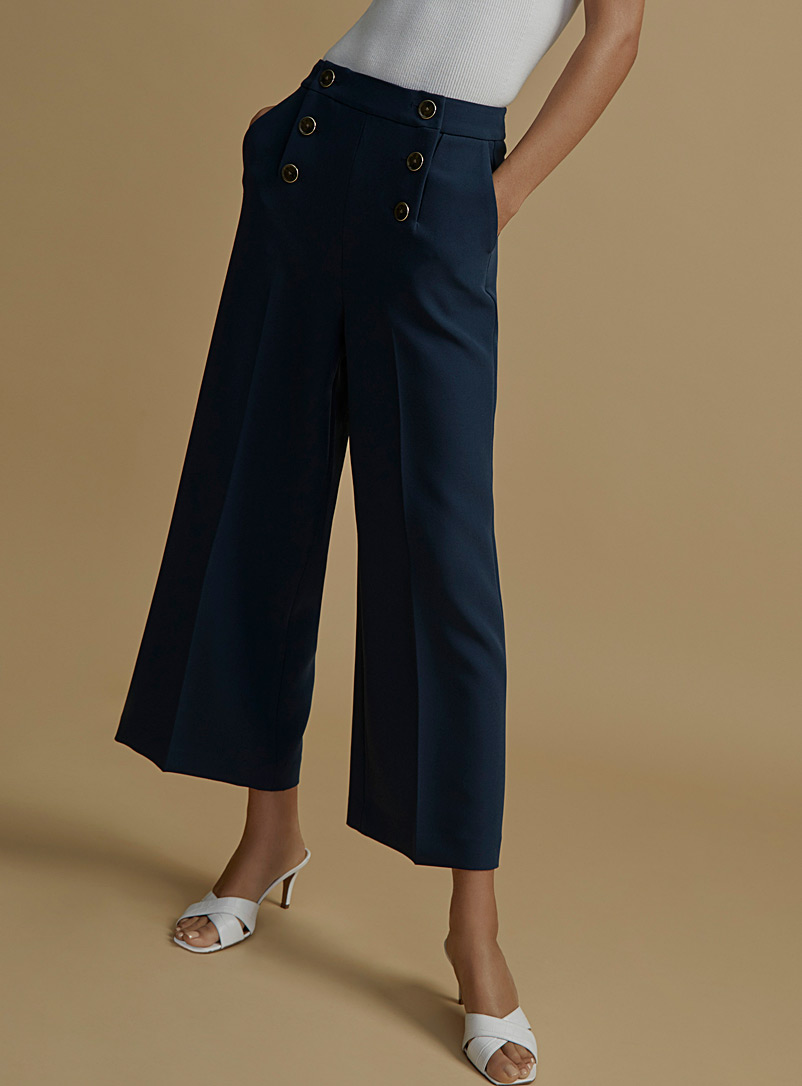 Icône Dark Blue Recycled polyester nautical club culottes for women