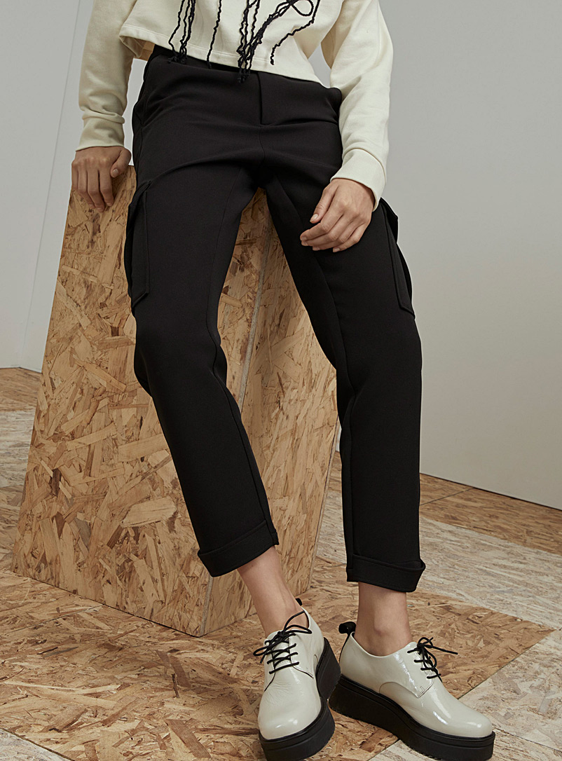 Ic?ne Black Recycled polyester cargo joggers for women