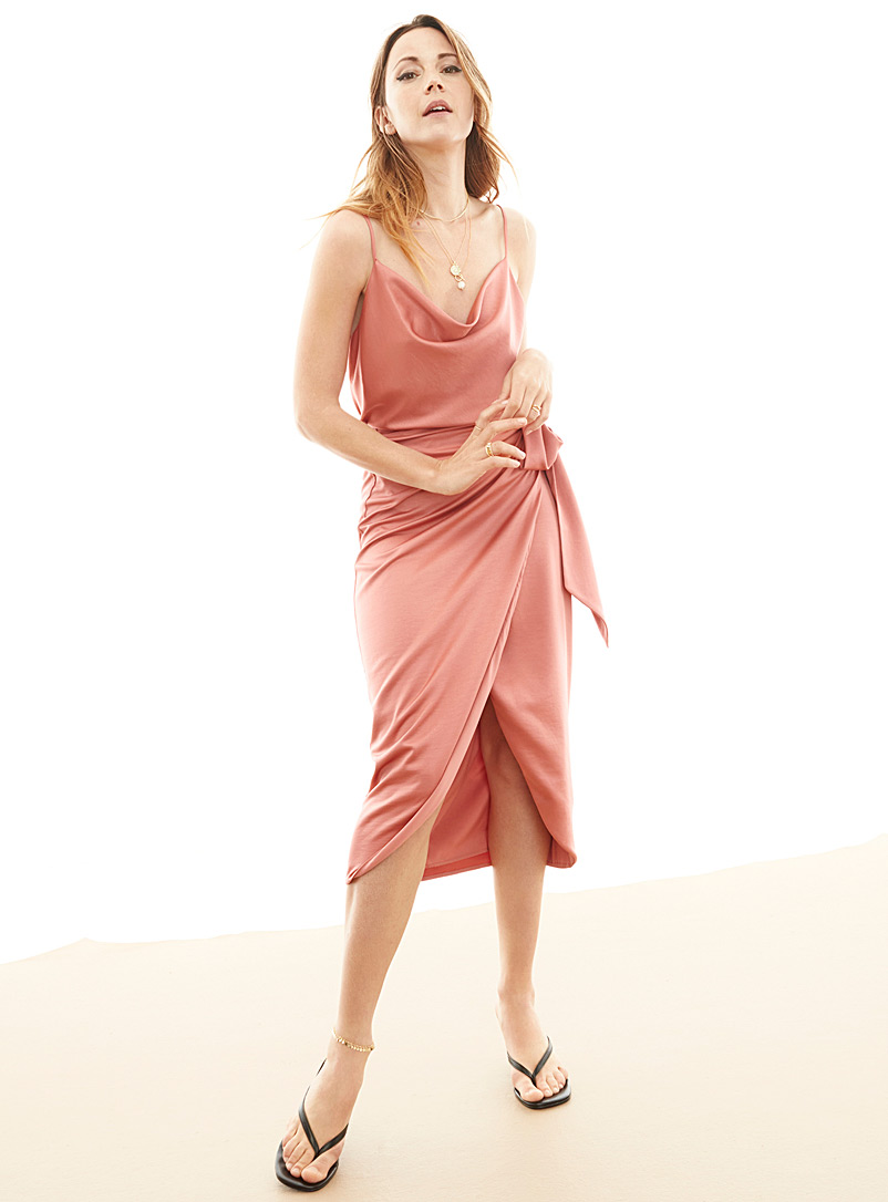 Icône Dusky Pink Satiny recycled polyester sarong skirt for women