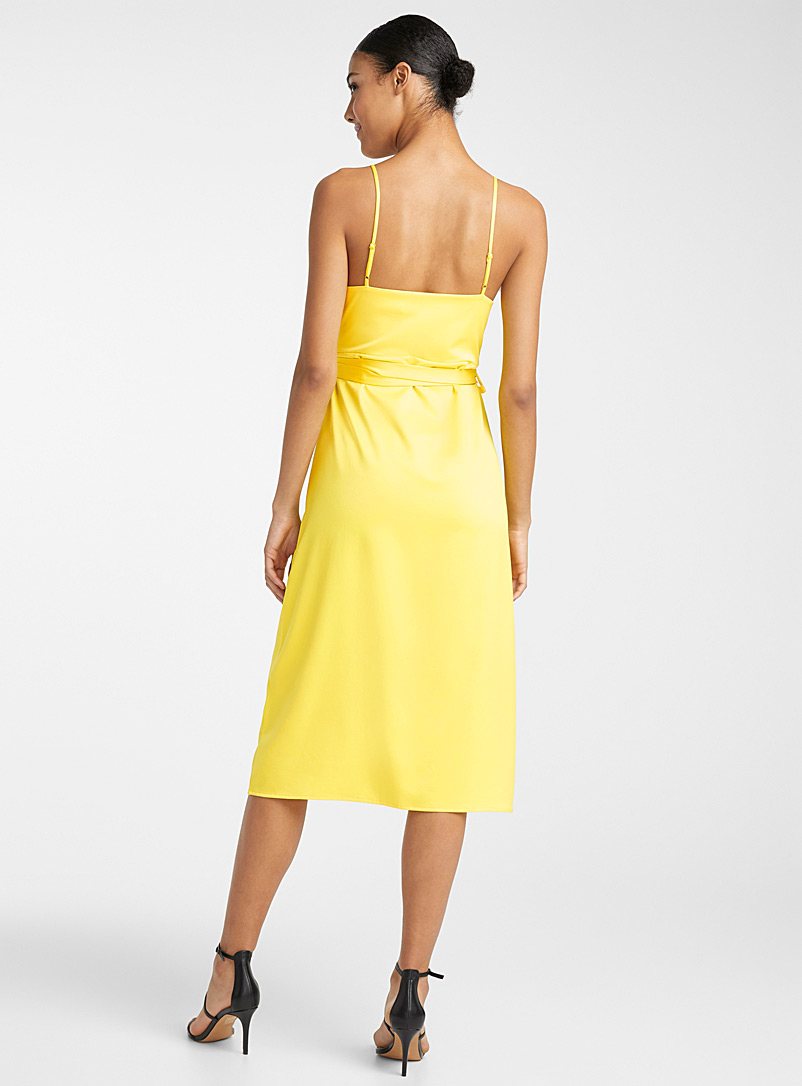 Icône Golden Yellow Recycled polyester fine strap wrap dress for women