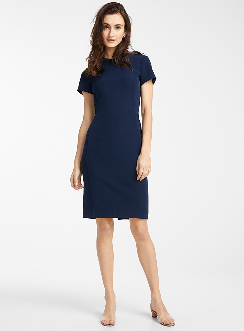 Icône Marine Blue Engineered crepe ribbed collar dress for women