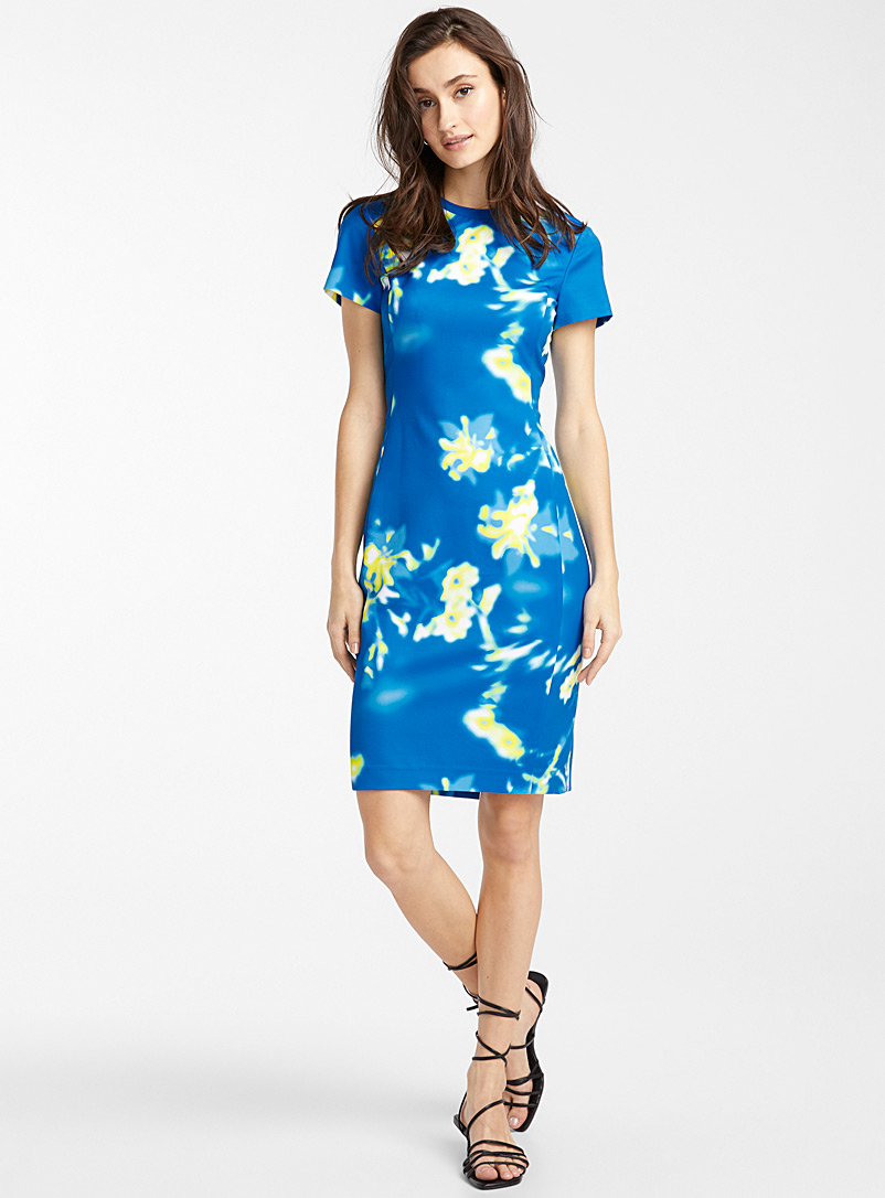 Icône Patterned Blue Engineered crepe ribbed collar dress for women