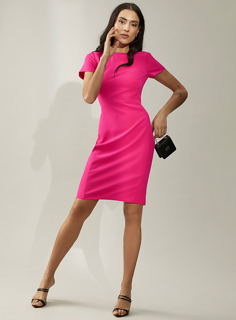 Icône Medium Pink Engineered crepe ribbed collar dress for women