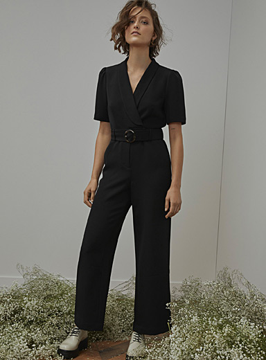 Icône Black Recycled polyester shawl-collar jumpsuit for women