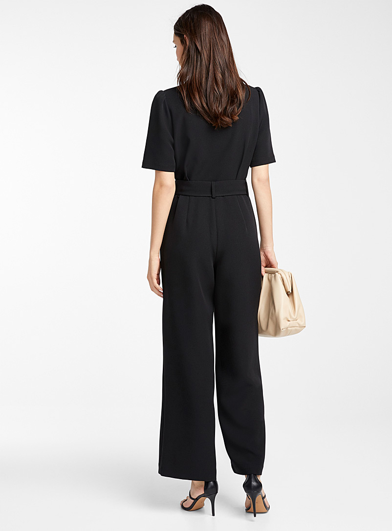 Icône Brown Recycled polyester shawl-collar jumpsuit for women