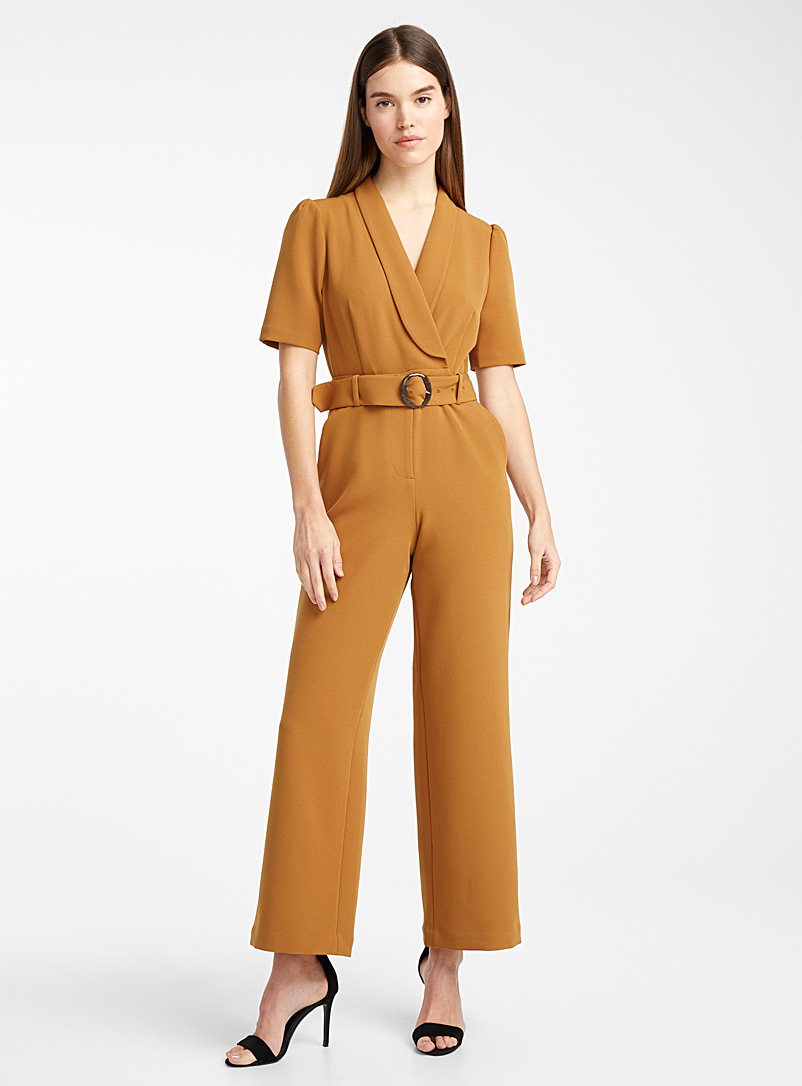 Ic?ne Brown Recycled polyester shawl-collar jumpsuit for women