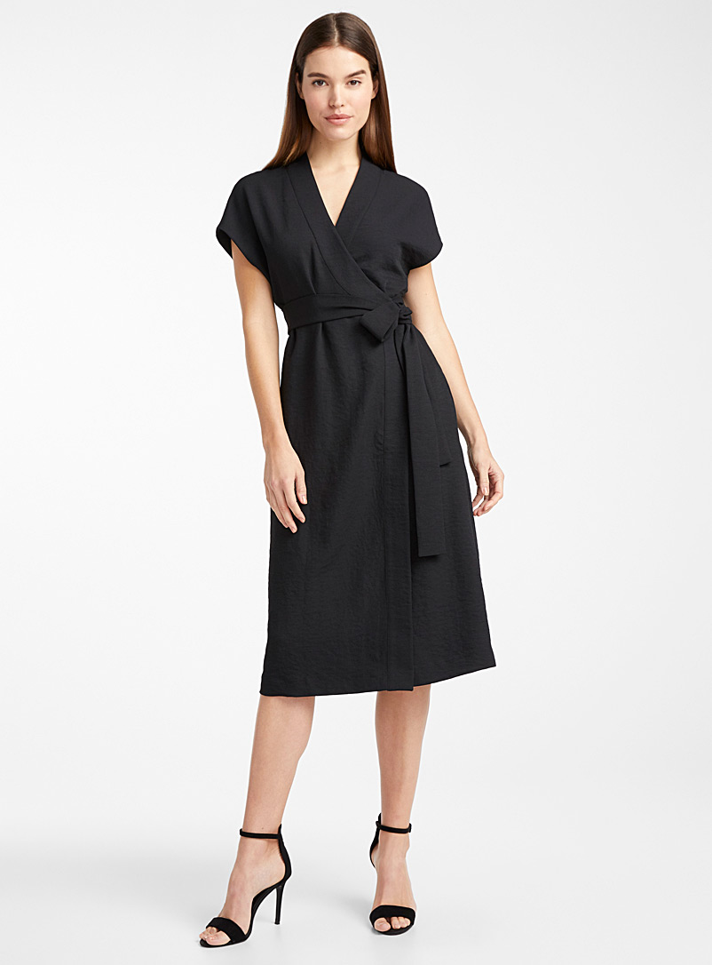 Icône Black Piqué wrap dress for women