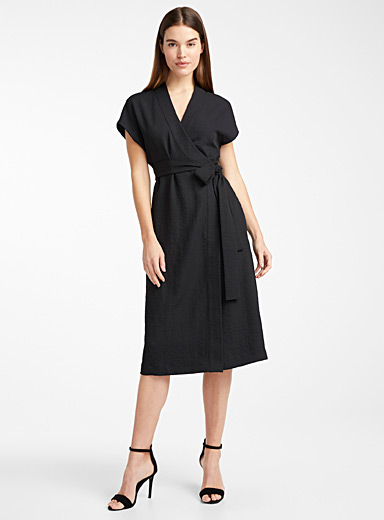Piqué wrap dress