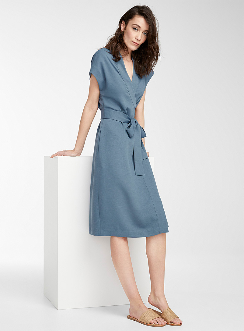Icône Slate Blue Piqué wrap dress for women
