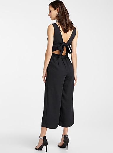 Icône Black Open-back piqué jumpsuit for women