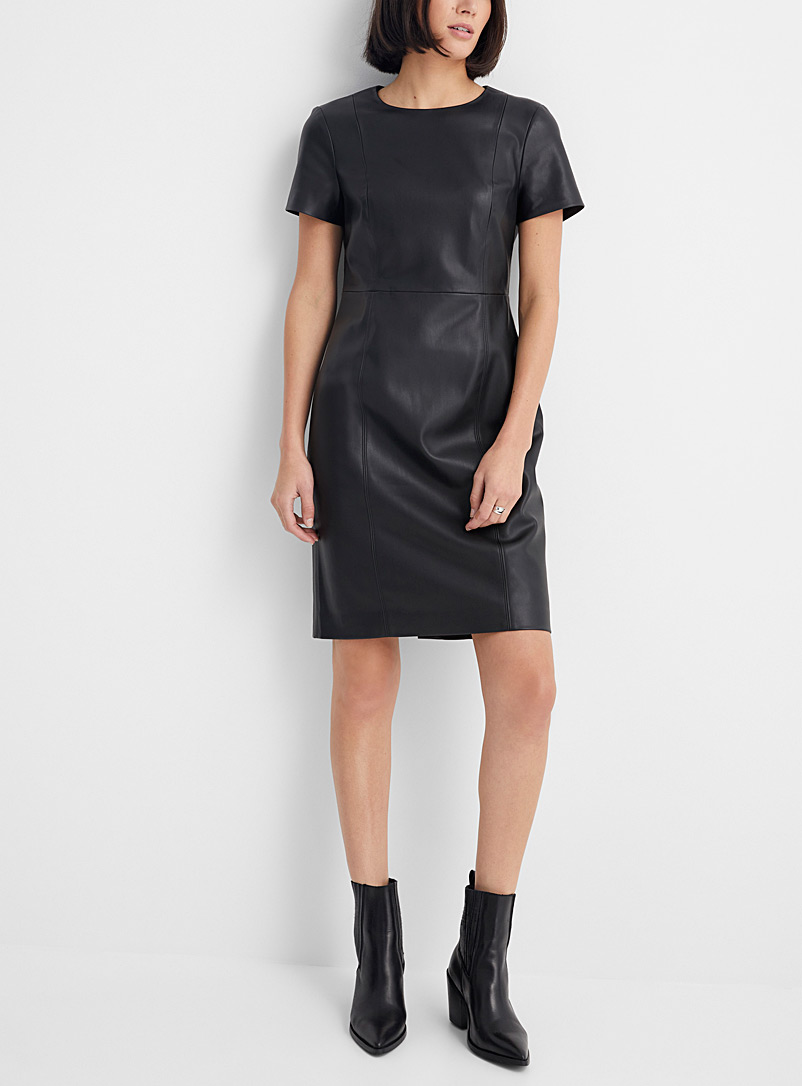 Contemporaine Black Fitted faux-leather dress for women