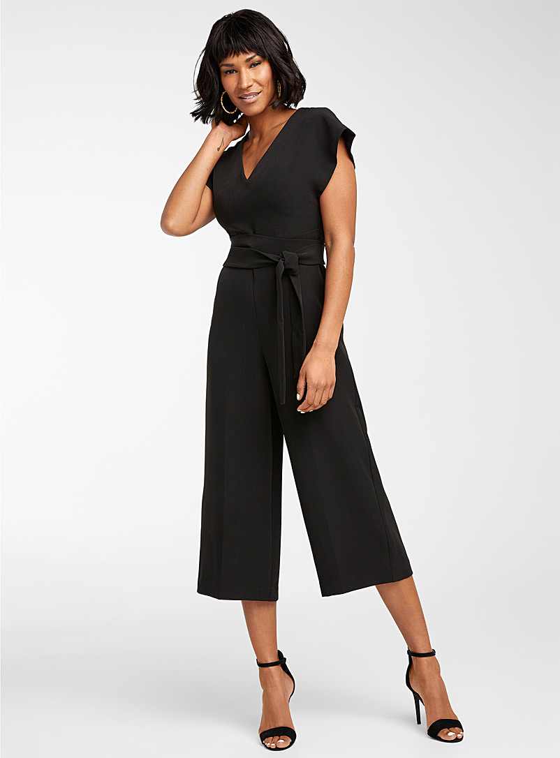 Icône Black Recycled polyester belted jumpsuit for women