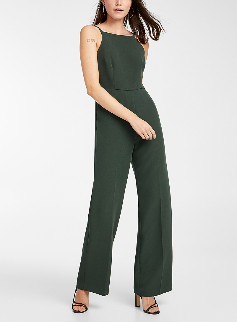 Ic?ne Mossy Green Recycled polyester spaghetti strap jumpsuit for women