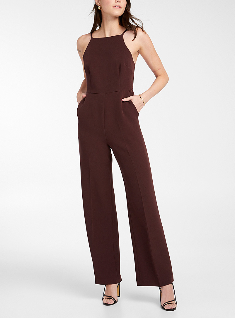 Icône Black Recycled polyester spaghetti strap jumpsuit for women