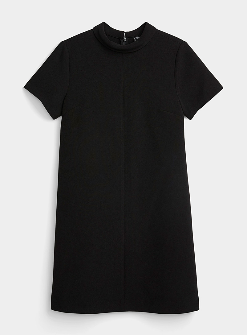 Icône Black Recycled polyester foldover mock-neck dress for women
