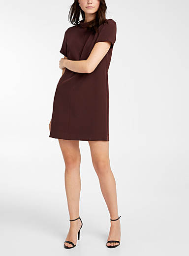 Icône Dark Crimson Recycled polyester foldover mock-neck dress for women
