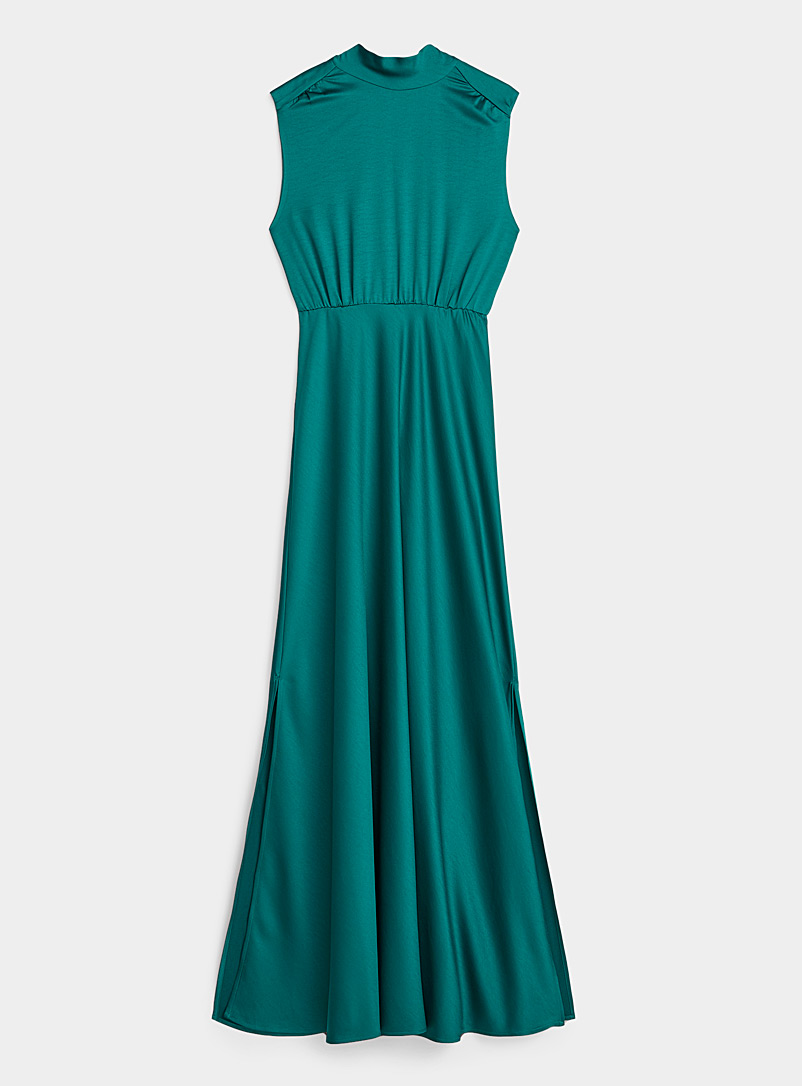Icône Kelly Green REPREVE* polyester open-back satiny dress for women