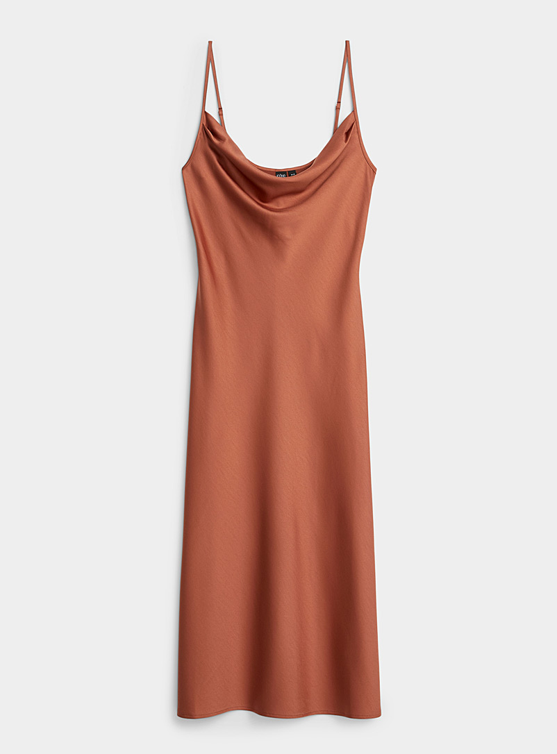 Icône Brown REPREVE* polyester draped collar satiny dress for women