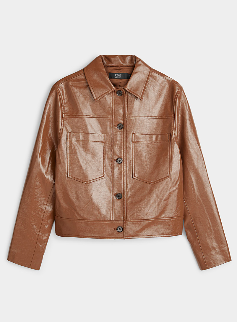 Icône Brown Boxy faux patent leather jacket for women