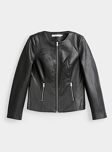 Contemporaine Black Faux-leather zip jacket for women