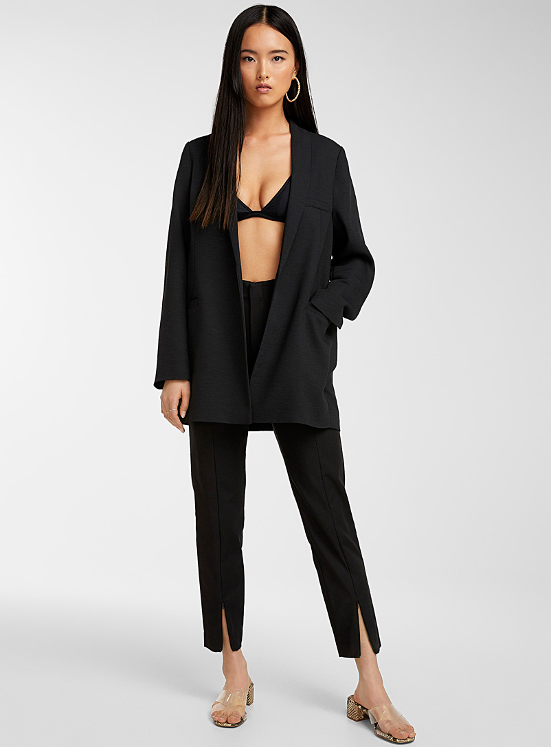 Icône Black Long piqué blazer for women