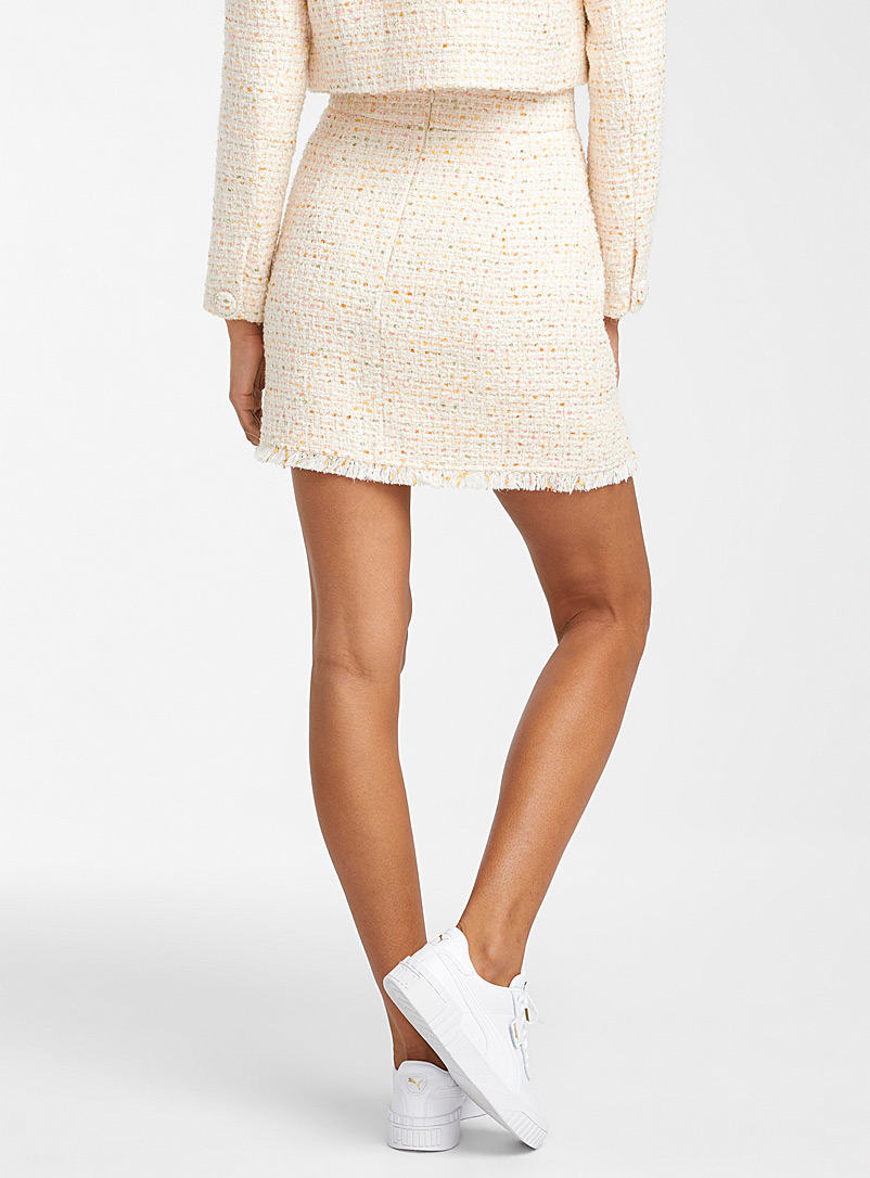 Icône Patterned White Summery shades tweed miniskirt for women