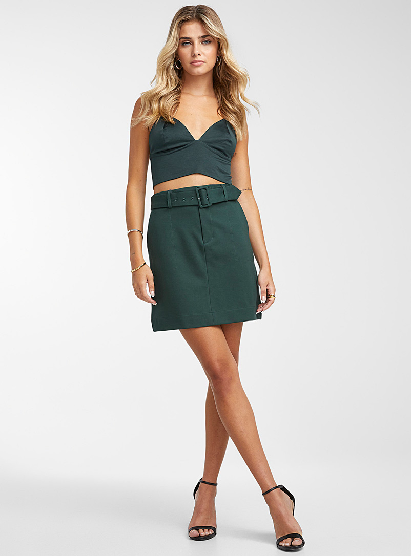 Icône Mossy Green Thin-strap satiny top for women