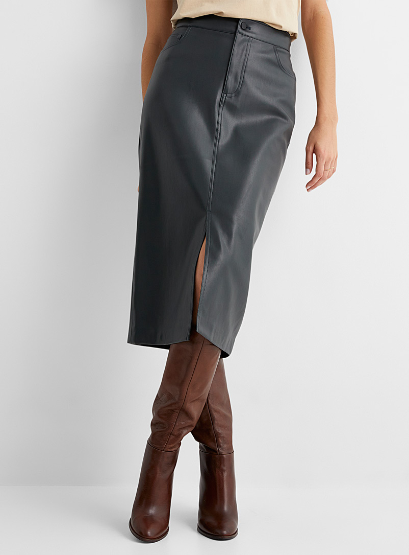 Contemporaine Black Fitted faux-leather midi skirt for women