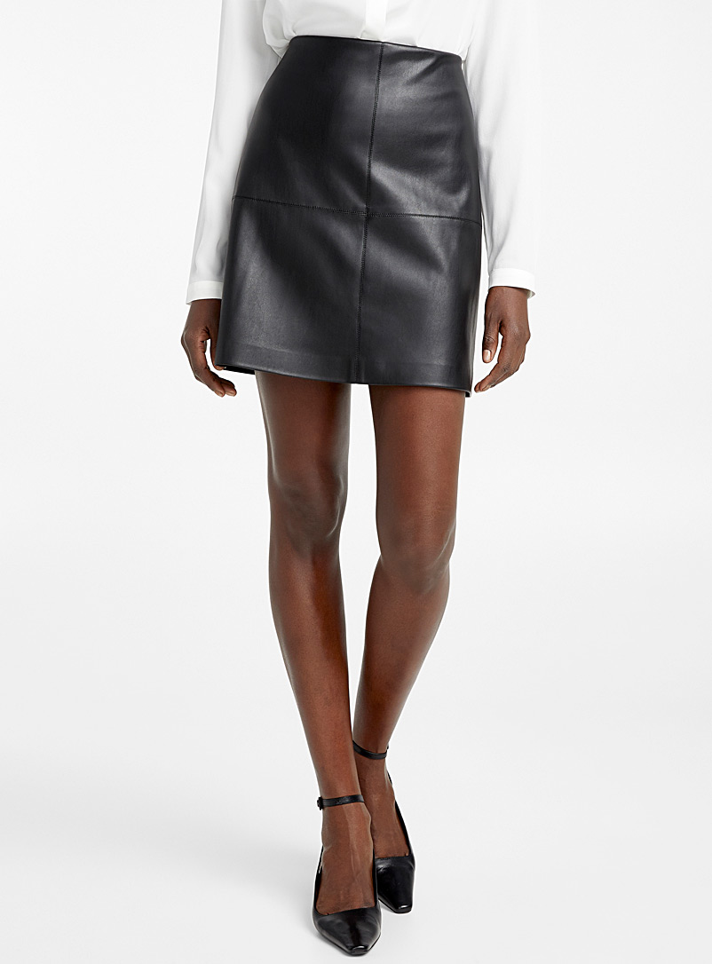 Faux-leather miniskirt - Skirts - Black